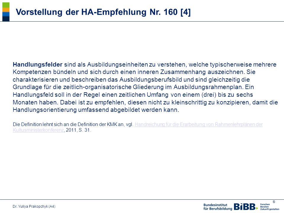 Vorstellung der HA-Empfehlung Nr. 160 [4]